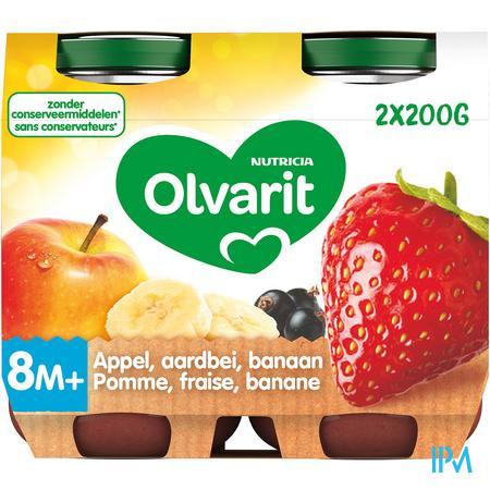 Olvarit Fruit Appel Aardbei Banaan2x200g 8m60