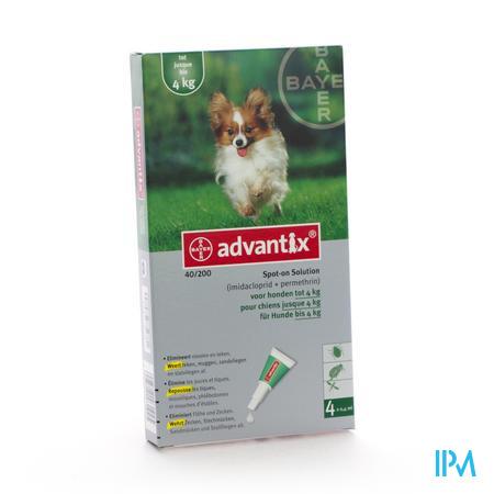 Advantix 40/ 200 Chiens < 4kg Fl 4x0,4ml