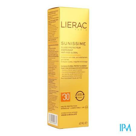 Afbeelding Lierac Sunissime Verkwikkende Zonnefluide SPF 30 met Globale Anti-Ageing voor Gelaat en Decolleté 40 ml.