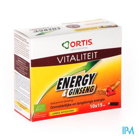 Ortis Energy & Ginseng Bio Alcoholvrij 15Ml 10 stuks