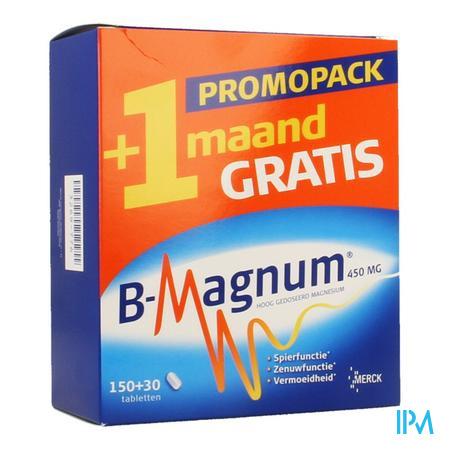 Afbeelding B-Magnum Promopack Hooggedoseerd Magnesium 150 Tabletten + 30 Tabletten Gratis.
