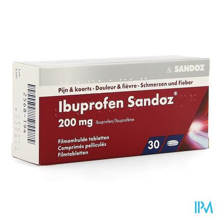 Afbeelding Ibuprofen Sandoz 200mg 30 tabletten.