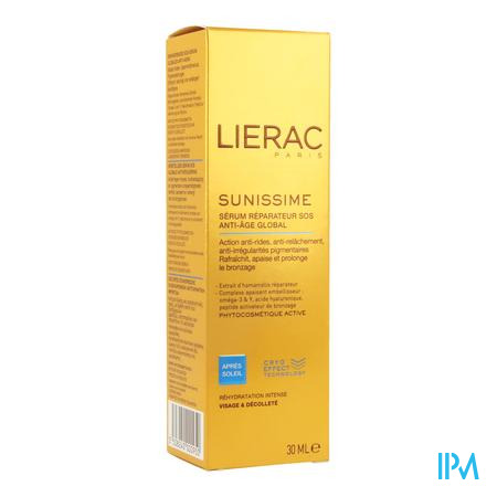 Afbeelding Lierac Sunissime Herstellend SOS After Sun Serum met Globale Anti-Ageing voor Gelaat en Decolleté 30 ml.