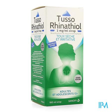 Tusso Rhinathiol 2mg/ml Siroop Volw Z/suiker 180ml
