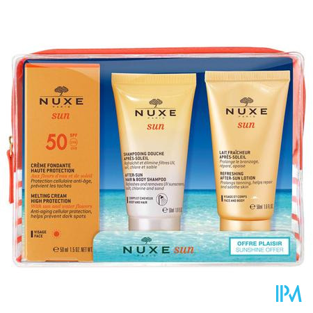 Afbeelding Nuxe Sun Summer Kit met Weldadige Zonnecrème met SPF 50 50 ml + After-Sun Doucheshampoo 50 ml + Verfrissende After-Sun Melk 50 ml.