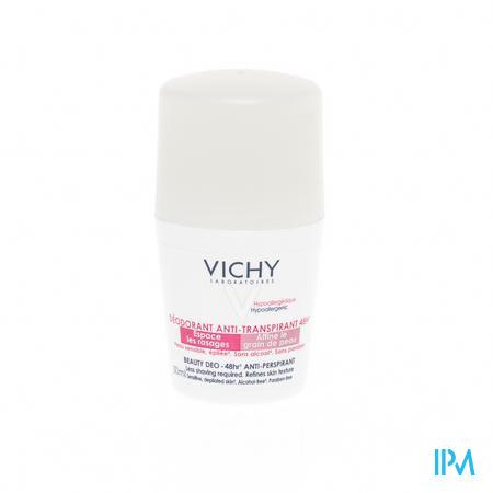 Afbeelding Vichy Beauty Deodorant Roller Antitranspiratie 48 uur voor Verfijning van Huidtextuur en Vermindering van Ontharen voor Gevoelige of Geëpileerde Huid 50 ml.