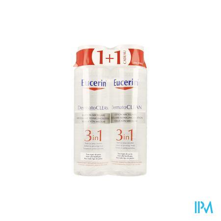 Afbeelding Eucerin DermatoClean 3in1 Micellaire Reinigingslotion voor Gelaat en Ogen voor Alle Huidtypes Promo Duopack 2 x 400 ml.