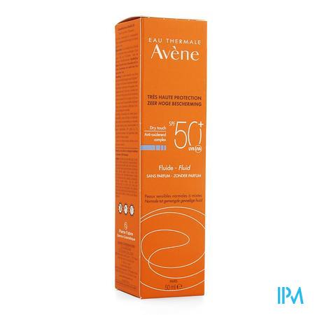 Afbeelding Avène Waterbestendige Dry Touch Zonnefluide met SPF 50+ zonder Parfum voor Normale tot Gemengde Huid Tube 50 ml.