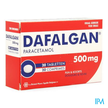 Afbeelding Dafalgan 500 mg 20 Tabletten.