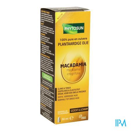 Afbeelding Phytosun Macadamia Plantaardige Olie voor Doffe en Vermoeide Normale tot Droge Huid Pompje 50 ml.