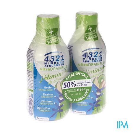 4321 Afslanken Draineur Appel-Kiwi Duo 2x280 ml  PROMO 2e aan -50%