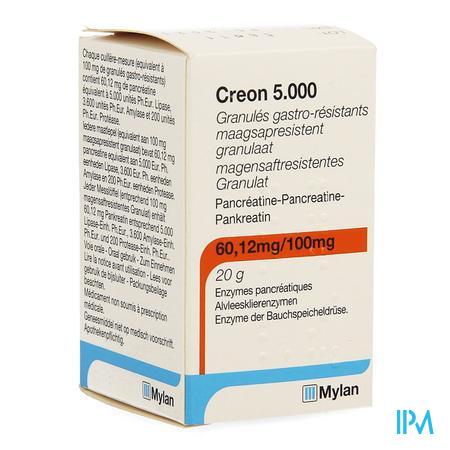 Creon 5000 Maagsapresist Granulaat Fl 20g