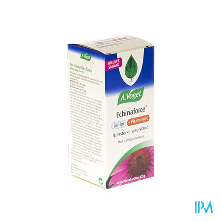 Afbeelding A. Vogel Echinaforce Junior + Vitamine C voor Ijzersterke Weerstand 40 Kauwtabletten met Frambozensmaak .