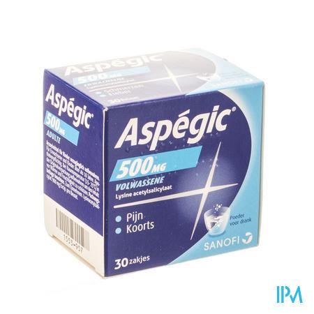 Afbeelding Aspégic 500 mg bij Pijn en Koorts 30 Zakjes.