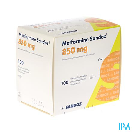 Metformine Sandoz 850mg Comp 100 X 850mg