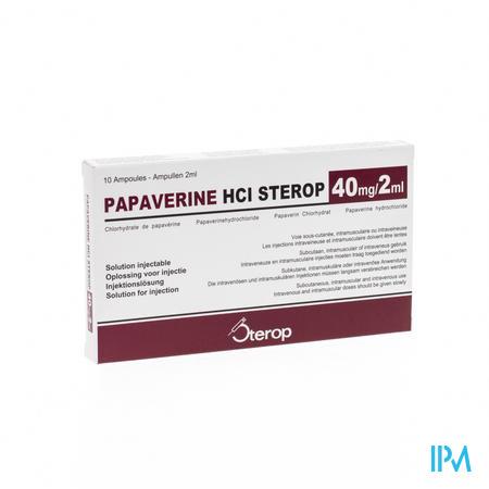 Papaverine Hcl Amp 10 X 40mg/2ml