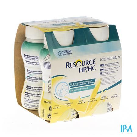 Resource Hp Hc Vanille Fles 4x200 ml  -  Nestle Belgilux