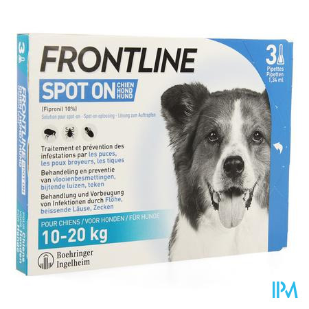 Frontline Spot On Chien 10-20kg Pipet 3x1,34ml