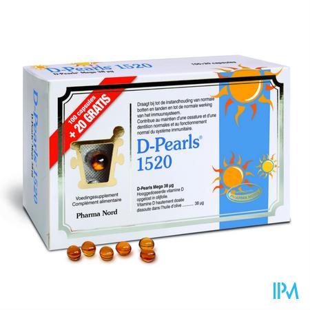 Afbeelding D-Pearls 1520 met 1520 IE Vitamine D Promopack 120 Capsules.
