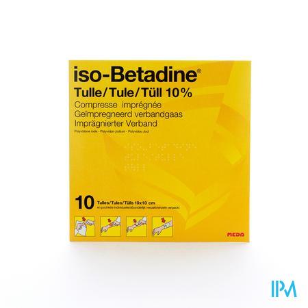 Isobetadine Tule Kompres 10stuks 10x10