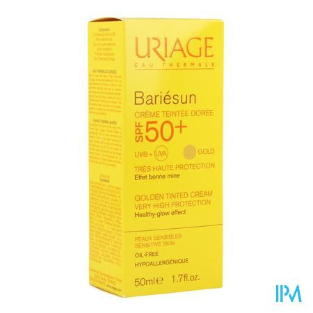 Afbeelding Uriage Bariésun Getinte Zonnecrème SPF 50+ voor Gelaat Tint Doré voor Normale Huid Tube 50 ml.