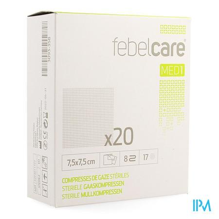 Febelcare Gaaskompres Steriel 7,5x 7,5cm 20x1