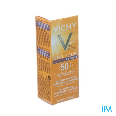 Afbeelding Vichy Ideal Soleil Bronze Hydraterende Zonnegel met SPF 50 voor Optimale Bruining 50 ml.