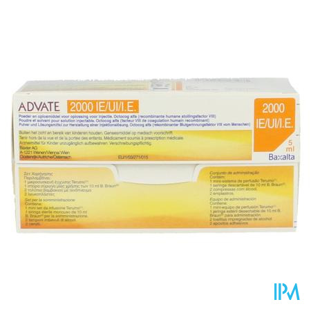 Advate 2000ui Pulv+solv Sol Inj 5ml(400iu/ml)+kit
