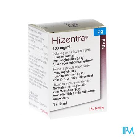 Hizentra 200mg/ml Sol Inj 2g/10ml