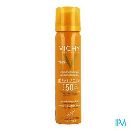 Afbeelding Vichy Idéal Soleil Frisse Onzichtbare Gezichtsmist met SPF 50 Spray 75 ml.