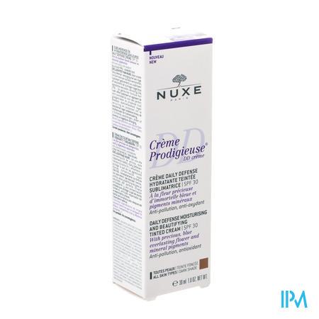 Afbeelding Nuxe Crème Prodigieuse DD Crème met SPF 30 voor Alle Huidtypes Donkere Tint Tube 30 ml.