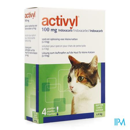 Activyl Spot-on Opl. Kleine Katten Pipet 4x100mg