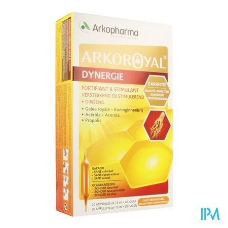 Afbeelding Arkoroyal Dynergie Versterkend en Stimulerend met Ginseng, Koninginnenbrij, Acerola en Propolis Ampullen 20 x 10 ml.