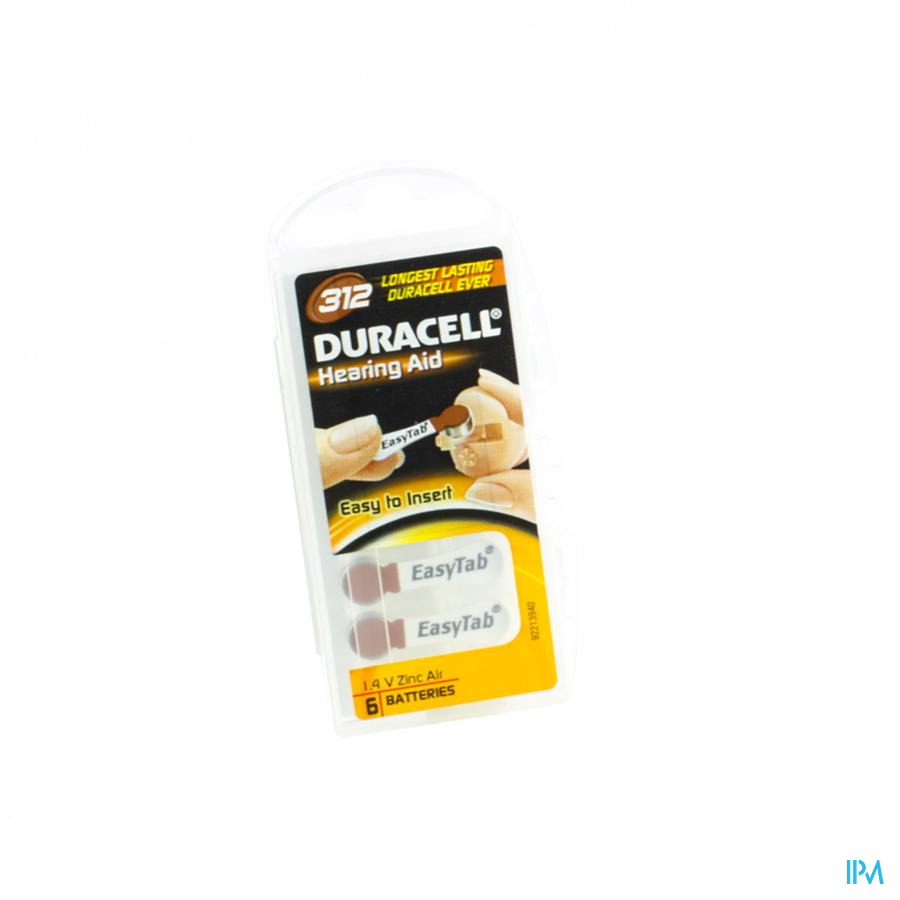 Duracell Easytab Pile Auditive Da312 6 Brun
