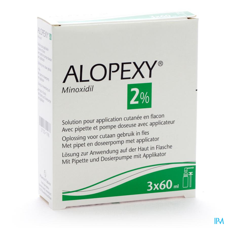 Alopexy 2 % Liquid Fl Plast Pipet 3x60ml