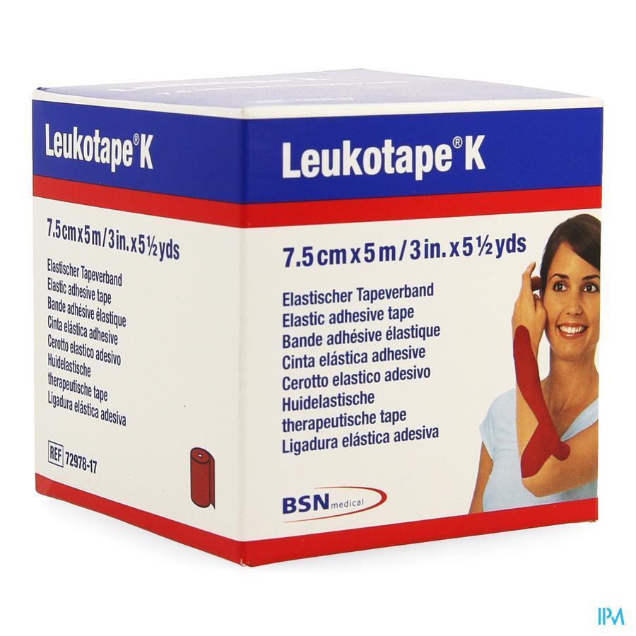 Leukotape K Kleefwindel Elast Rood 7,5cmx5m 1