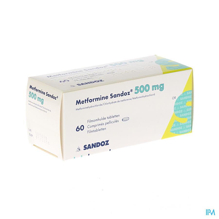 Metformine Sandoz 500mg Comp 60 X 500mg