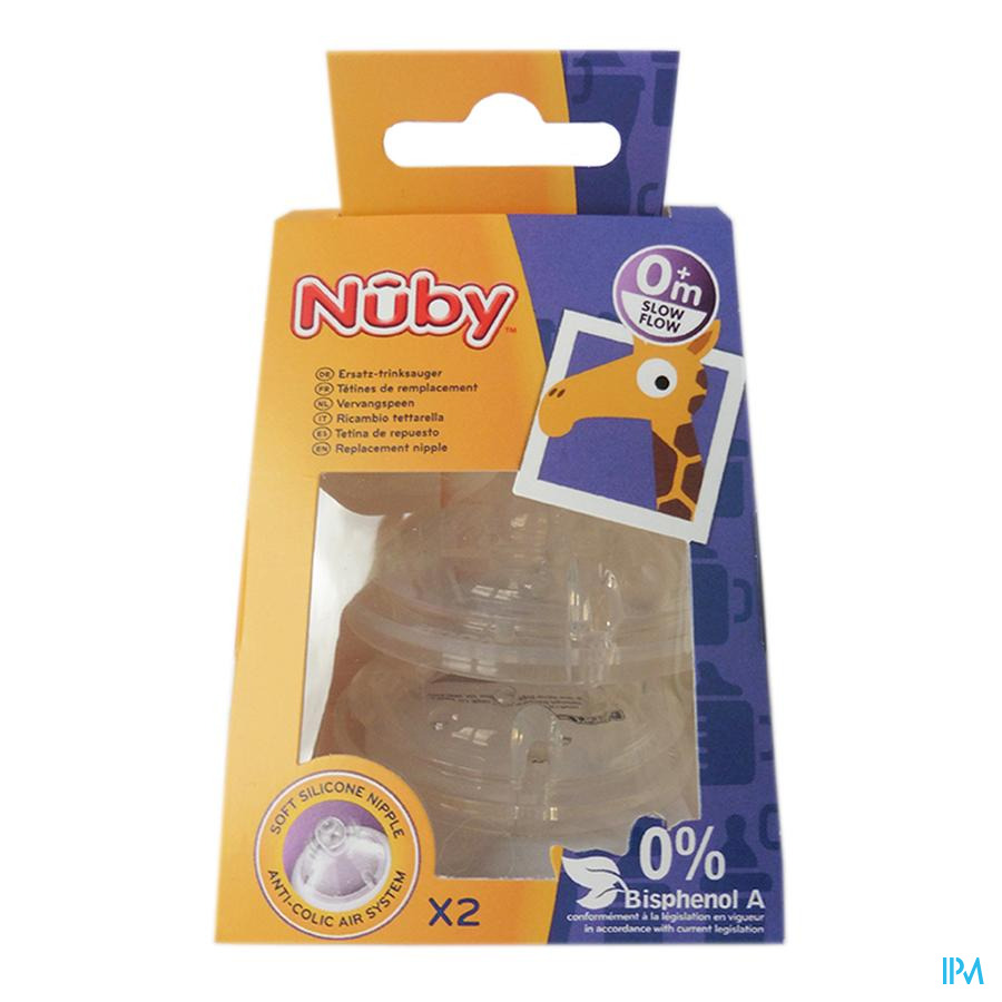 Nûby SoftFlex™ vervangspeen - slow flow - 2p - 0m+