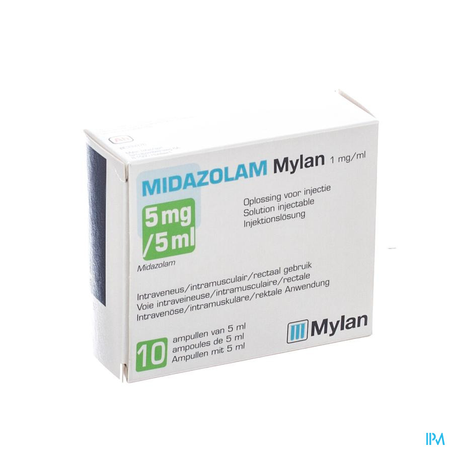 Midazolam Mylan 5mg/5ml Sol Inj 10ml 1mg/ml 10