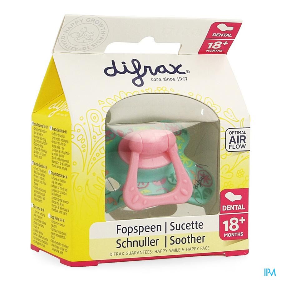 Difrax Sucette Sil Dental Xtra Forte Girl +18m 342