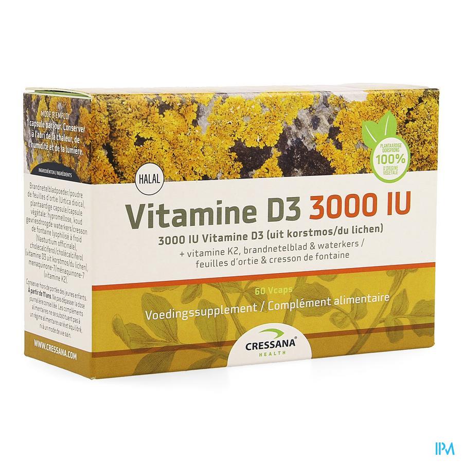 Vitamine D3 3000iu + K2 Plantaardig Caps 60