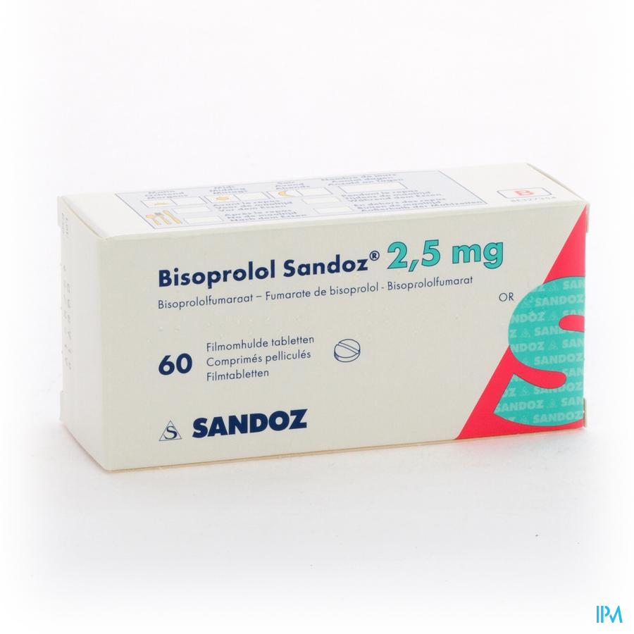 Bisoprolol Sandoz 2,5mg Comp Pell 60 X 2,5mg