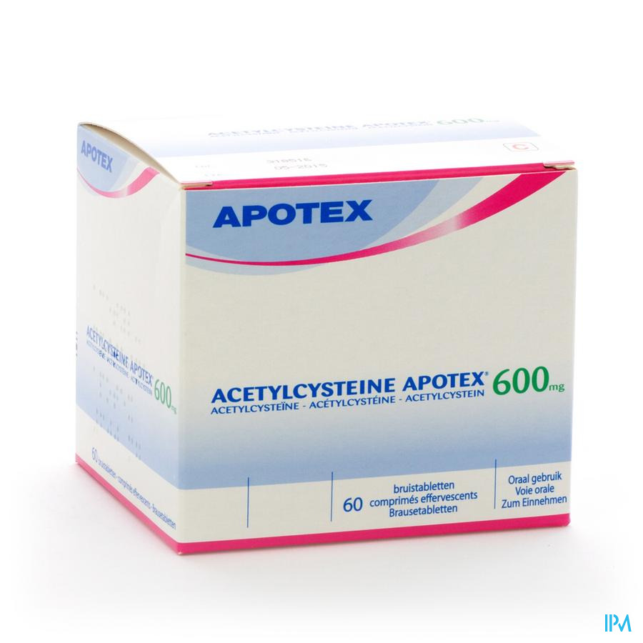 Acetylcysteine Apotex Comprimes Effervescents 60 X 600 mg