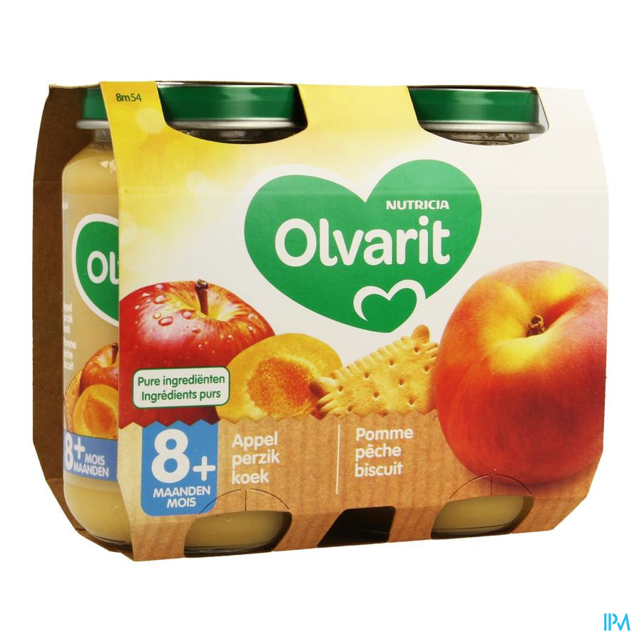 Olvarit Fruit Appel Perzik Koek 2x200g 8m54