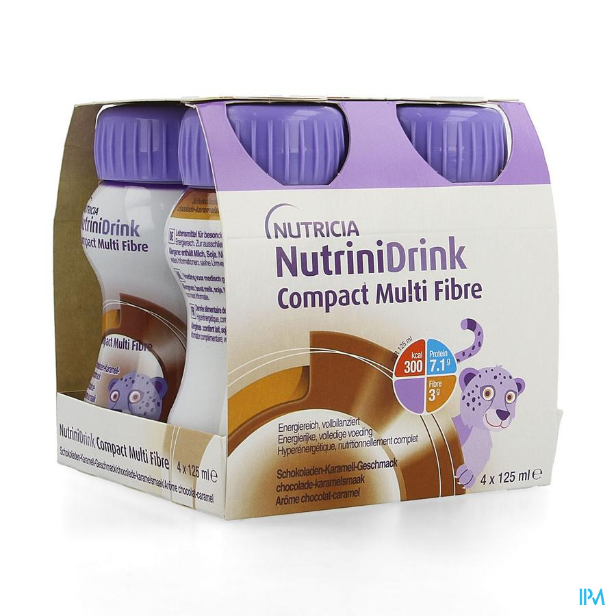 Nutrinidrink Compact Mult Fibre Chocosmaak 4x125ml