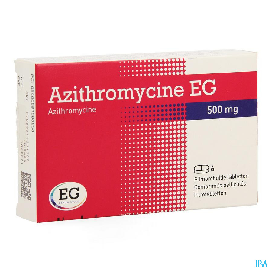 Azithromycine 500mg Eg Comp Pell 6x500 mg