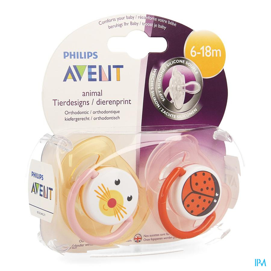 Philips Avent Sucette Animaux Silicone Double 6-18m 2 SCF182/24