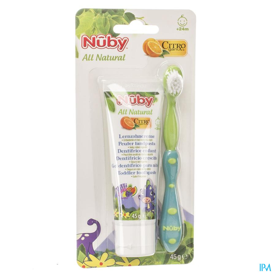 Nûby Citroganix™ Peutertandpasta + tandenborstel – 45g - 24m+