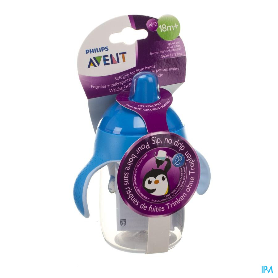 Philips Avent Gobelet Anti Fuite Pinguin Bleu 340ml SCF755/05