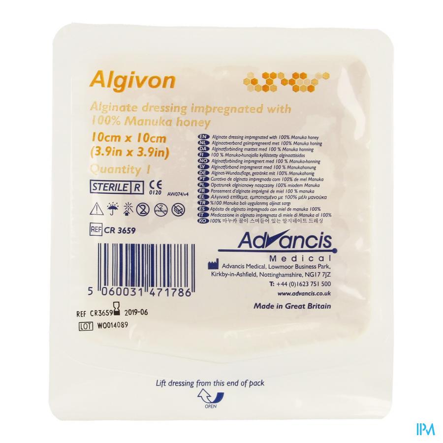 Algivon Alginate Miel Manuka N/adh Ster 10x10cm 1